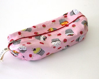 Pencil bag, Zippered Pencil Pouch, Pink Cupcakes and Cherries Pencil Bag, Pen Bag