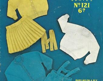 Sirdar Sunshine 121 Vintage Original Knitting Pattern Lederhosen, Pleated Skirt and Sweaters for Children 1 to 2 Years