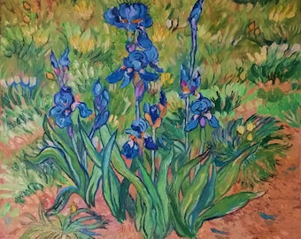 Blue Irises in field, Original Oil Painting, Impasto painting, Impressionist Oil on canvas, Palette knife painting in oils, Flower garden
