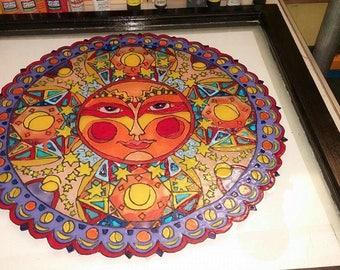 Sun Goddess Painted Glass