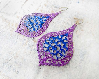 Big Earrings, Gypsy earrings, blue purple filigree dangle earrings Boho jewelry