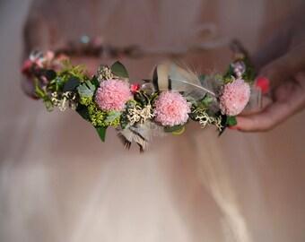 Flower crown bridal flower head wreath wedding hair accessories