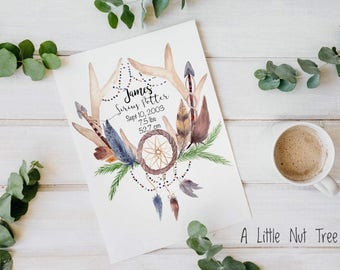 Personalized, Dreamcatcher, Antlers, Baby Shower Gift, Deer, Woodland Nursery, Watercolor, Custom, Watercolour, Art Print, Poster, Painting