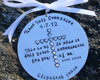 First Communion/Baptism - Hand Stamped Hard Anondized Aluminum Ornament - Round LARGE