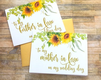 to my mother in law on my wedding day - card for parents in law - wedding day card for father and mother in law - sunflowers - SUNBEAM