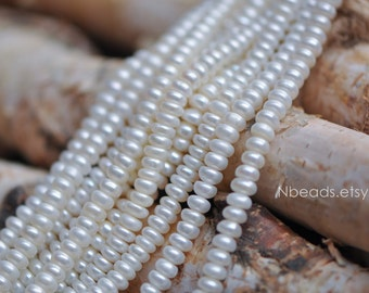 Natural Button Freshwater Pearl 5mm, White Fresh Water Rondelle Pearls -(PL01-10)/ Full strand