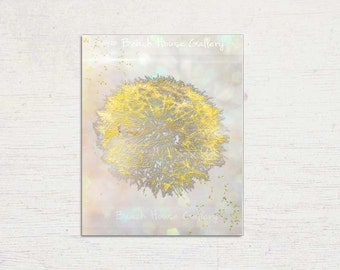 Dandelion Wall Art, Yellow Gray Wall Art, Yellow Gray Decor, Modern Wall Art, Dandelion Print, Floral Wall Art, Dandelion Art, Modern Floral