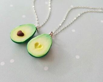 Best Friend Heart Avocado Necklace Vegan Jewelry Miniature Food Kawaii Charms