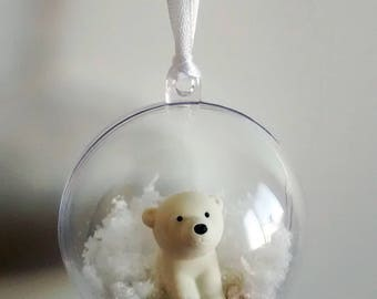 White bear gift, Christmas decor, Bear tree ornament, Wall decor winter, Gift for her, Animal decoration, White gift for him, Xmas gifts
