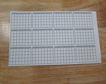 12 Mini Monthly Calendars Stickers Bullet Jornaling