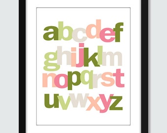 Lowercase Alphabet ABC Wall Art - 8x10 Children Nursery Wall Print Poster