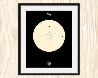 VIRGO Astrological Constellation Print, Zodiac Art, Minimalist Fine Art Print Poster