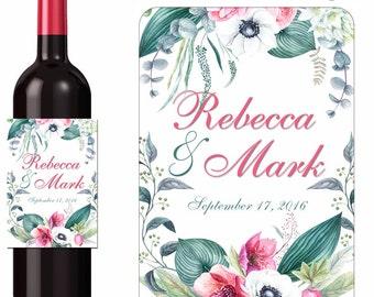 Custom Wedding Wine Labels Personalized Floral Design Stickers Anemones Eucalyptus Helleborous Flowers Waterproof Vinyl 3.5 x 5 inch