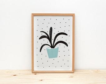 Green plant art print, illustration by depeapa, botanical print, plants wall art, A4 print plants, poster, wall decor, kids room decor
