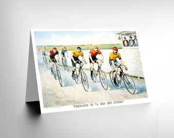 New Sport Memorabilia Cycling Bicycle Racing USA Ad Blank Greetings Card CL1159