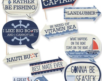 Funny Ahoy - Nautical Party Photo Booth Props - Nautical Photo Booth Prop Kit - Ahoy - Nautical Selfie Photo Props - 10 pc.