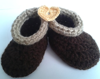 Baby Cozy Cuff Booties,  0-6 months, Browns, tan