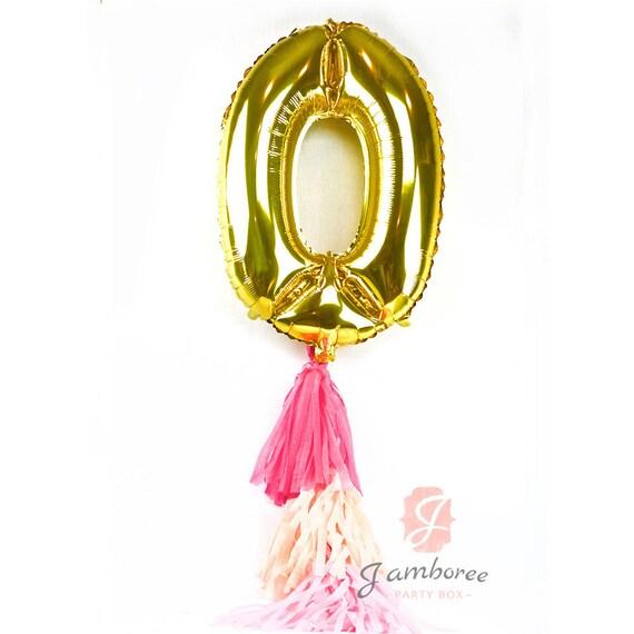 """40"""" Giant Number 0 Balloon, Giant Balloon, Gold Balloon, Gold Party Decor, Zero Balloon, 40 inch Balloon, Gold Glitter Balloon"""
