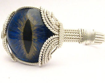 Handmade Sterling Silver Gothic Steampunk 3D Hand Painted Glass Dragon Eye Wire Wrapped Bracelet