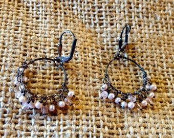 Vintage Silver Earrings,Tiny pearls,Pale pink beads