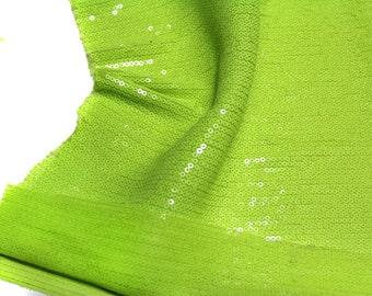 Green Neon Sequin Seaweed Fabric By The Yard Fat Quarter