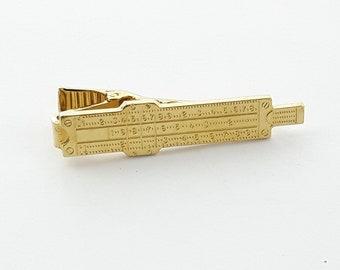Slide Ruler Tie Clip in Gold