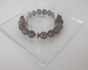 Gemstone Beaded Bracelet Grey Agate Beaded Bracelet Beaded Gemstone Stretch Bracelet Gray Agate Stacking Bracelet Gemstone Stack B0153