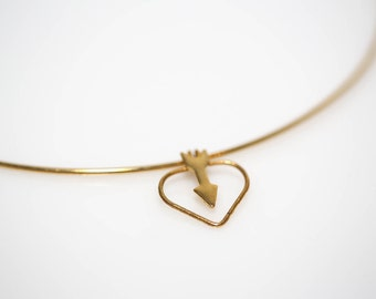 Gold Arrow Heart Choker