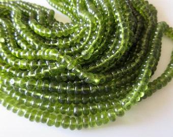 Beautiful Natural Rare Peridot Smooth Rondelle Beads, AAA Peridot, Wholesale gemstones, 6mm To 8mm Beads, 18 Inch Strand, SKU2767/1
