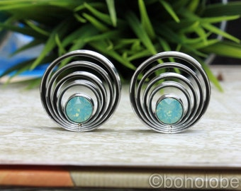 """Pair of cascading swarovski crystal plugs for gauges or stretched ears sizes 9/16"""", 3/4"""" 7/8""""  20mm 22mm"""
