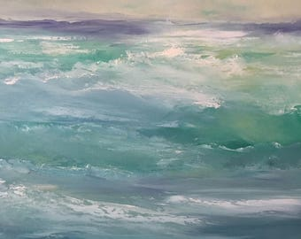 Wave Study - Oil Painting - Beach- Ocean - 24 x 24 Stretched Canvas- 1-1/2 Inch Gallery Wrapped Painted Sides