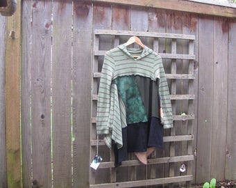 Upcycled Lagenlook Striped Sweater Hippie Hoodie Tunic Shirt/ Funky Asymmetrical Eco Babydoll Blouse/ Hi Lo Womens Tops XS