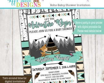 Boho Tribal Baby Shower Invitation - Aztec Baby Shower Invitation - Woodland Animal Baby Shower