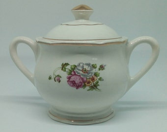 Vintage porcelain sugar bowl (genuine opaque) Digoin Sarreguemines model Anemones 1940