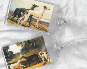 Set of 2 Greyhound Luggage Tags - Vintage Altered Art Greyhounds or Whippets