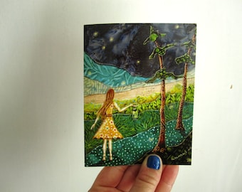 Gathering Fireflies, illustrated blank card, rustic summer spring, glossy finish