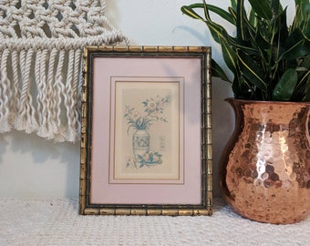 Flower Print with Frame, Pink Flower Drawing with Pink Matte and Bamboo Frame
