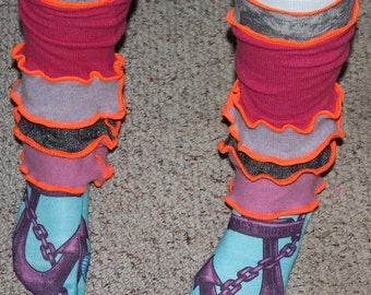 Fun Funky Quirky Hand Crafted Leg Warmers made from Recycled Repurposed Sweaters