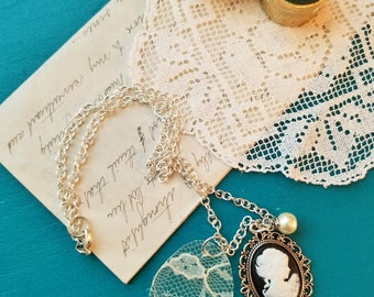 Cameo Necklace, Vintage Lace Necklace, Pearl, Vintage Inspired Necklace, Re-Purposed, White Lace, One of a Kind, MarjorieMae
