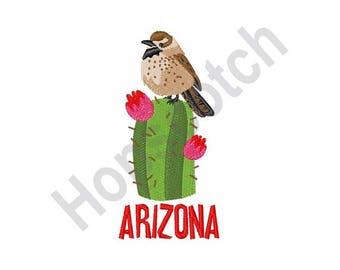 Arizona Wren - Machine Embroidery Design - 4 X 4 Hoop, Cactus Wren, State Bird, Travel