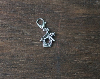 Knitting Progress Keeper -  BIRDHOUSE Stitch Marker - Crochet Marker - Silver Charm - Bird House  Knitting Jewelry