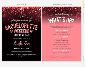 Sparkly Pink Black Vegas Bachelorette Invitation and Schedule Info Card / Customized Digital Printable File