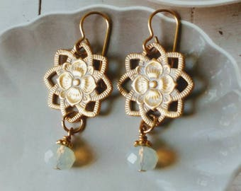 Gold Plated Flower Charms And Sea Opal Earrings  Mother's day Gift/Gift For Her