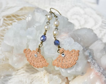 Lace and Vintage Faux Pearls Earrings