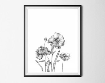 Black and White Flower Print, Printable Wall Art, Gallery Wall Art #86
