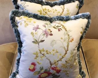 Italian silk Colony cushion with ruche detailing