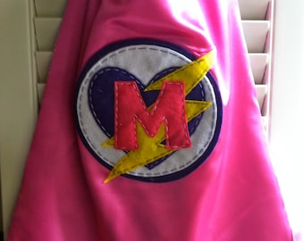 Pink Superhero Cape -Perfect Christmas Gift-PERSONALIZE/CUSTOMIZE - Superhero Costume Heart & Lightening Bolt- Superhero Birthday Party