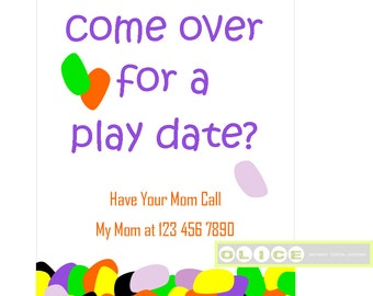 Play date card, play date invitation cards, School Playdate invitation, kids playdate invites, jelly bean play date 4 x 6 card printable PDF