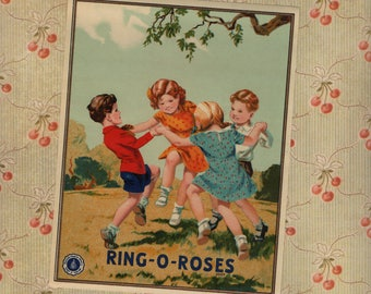 Lovely Vintage Textile Ring Around Roses Label