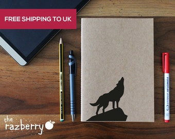 Wolf Graphic A5 Kraft Notebook Notepad Sketchbook Artbook Doodle School Book Blank Paper Stationery Craft Book College Book Quote